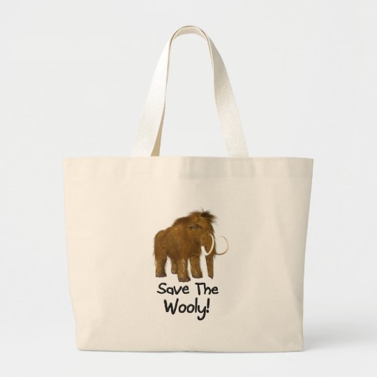"""""""Save The Wooly"""" Wooly Mammoth Large Tote Bag"""