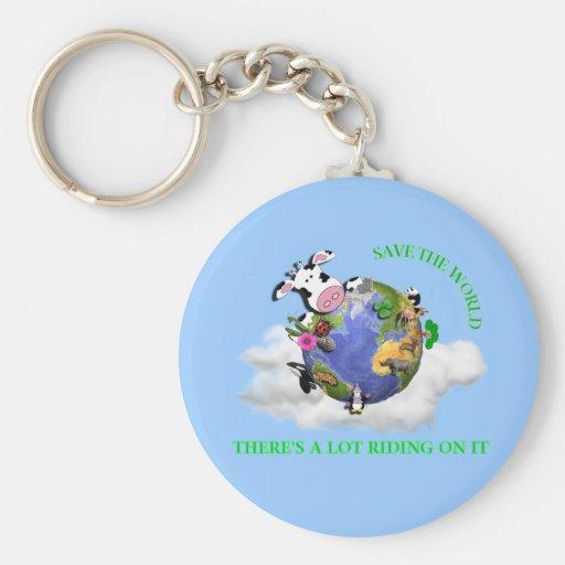 Save The World Basic Round Button Keychain