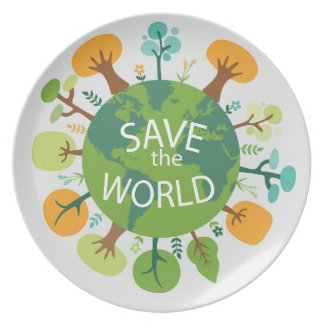 SAVE THE WORLD MELAMINE PLATE