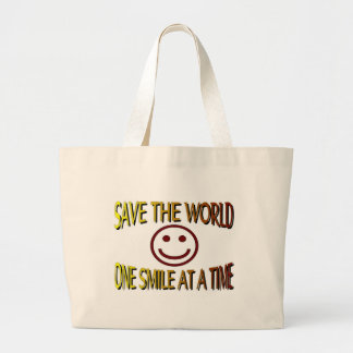 """""""Save the World - One Smile at a Time"""" Tote Bags"""