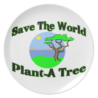 Save The World Plant A Tree Melamine Plate