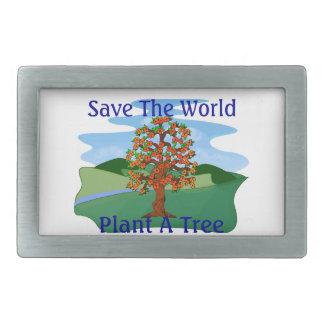 Save The World Plant A Tree Rectangular Belt Buckle