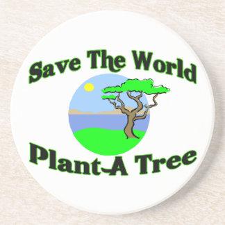 Save The World Plant A Tree Sandstone Coaster