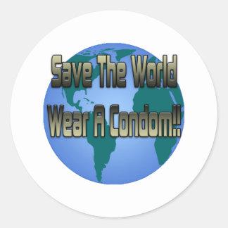 Save The World Wear A Condom Classic Round Sticker