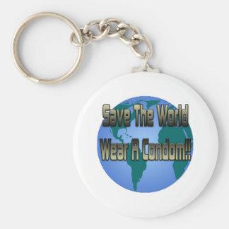 Save The World Wear A Condom Key Chains