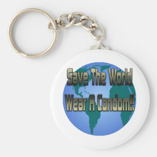 Save The World Wear A Condom Keychain