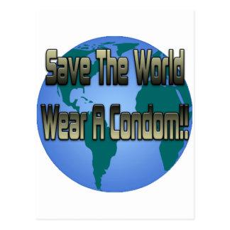 Save The World Wear A Condom Postcard