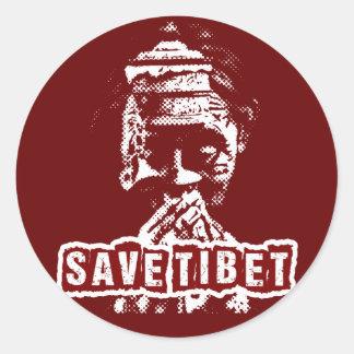 SAVE TIBET~! FREE TIBET! CLASSIC ROUND STICKER