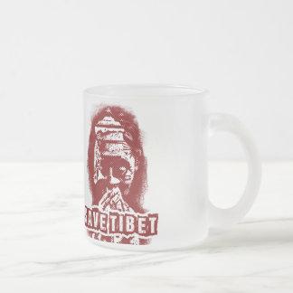 SAVE TIBET~! FREE TIBET! FROSTED GLASS COFFEE MUG
