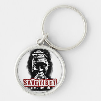 SAVE TIBET~! FREE TIBET! Silver-Colored ROUND KEYCHAIN
