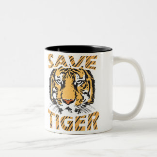 Save Tiger Black 11 oz Two-Tone Mug