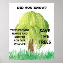 Save Trees Conserve Environmental Animal Habitat Poster