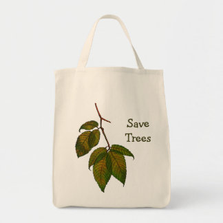 Save Trees: Drawing of Beech Tree Leaves Tote Bag