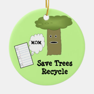 Save Trees Recycle Funny Christmas Ornament