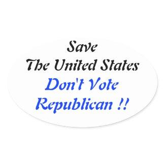 Save US Oval Blue sticker