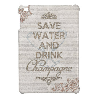 Save Water And Drink Champagne Shabby Glitter iPad Mini Cases