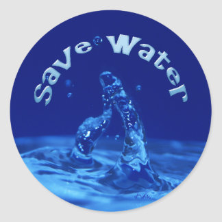 save water classic round sticker