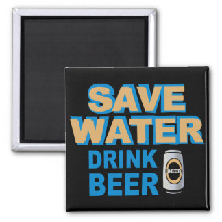 Save Water Drink Beer 2 Inch Square Magnet