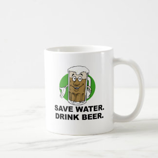 SAVE WATER. DRINK BEER. CLASSIC WHITE COFFEE MUG