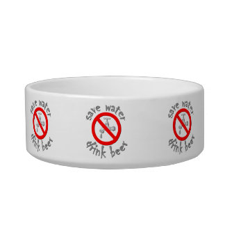 Save Water Drink Beer Funny Drinking Design Pet Bowl