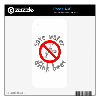 Save Water Drink Beer Funny Drinking Design iPhone 4 Decal