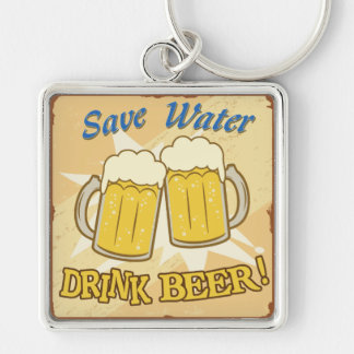 Save Water Drink Beer Silver-Colored Square Keychain