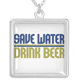 Save Water Drink Beer Silver Plated Necklace
