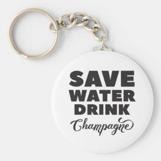 Save Water, Drink Champagne Keychain