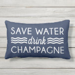 "Save Water, Drink Champagne Outdoor Pillow<br><div class=""desc"">Pitch in with conservation efforts simply by switching from water to champagne! Super cute typography lumbar pillow features the quote &quot;Save Water, Drink Champagne&quot; in white lettering with ocean wave detailing on a nautical navy blue background. Outdoor fabric makes this pillow a festive and fun addition to your pool, beach...</div>"
