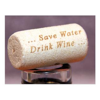 Save Water Drink Wine Cork Postcard