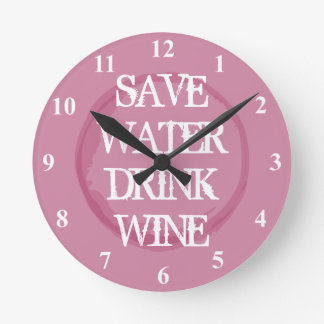 SAVE WATER DRINK WINE funny kitchen wall clock