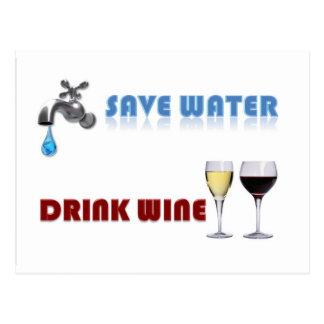 Save Water, Drink Wine Postcard