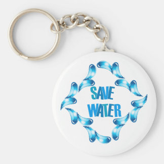 Save water graphic with water droplets keychain