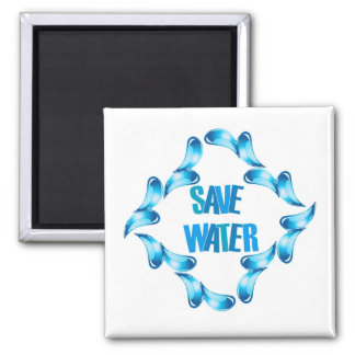 Save water graphic with water droplets magnet