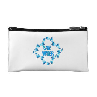 Save water graphic with water droplets makeup bag