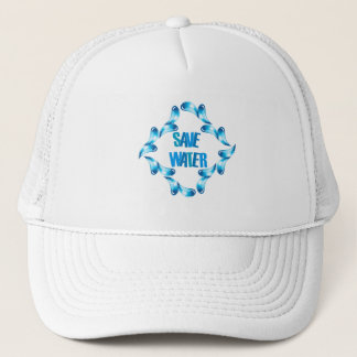 Save water graphic with water droplets trucker hat