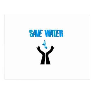 Save water- hands saving water postcard