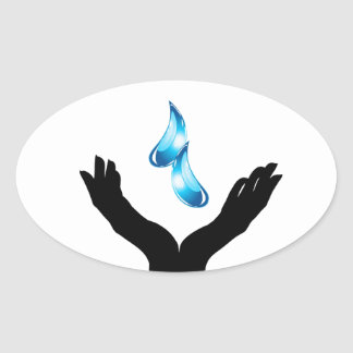 Save water oval sticker