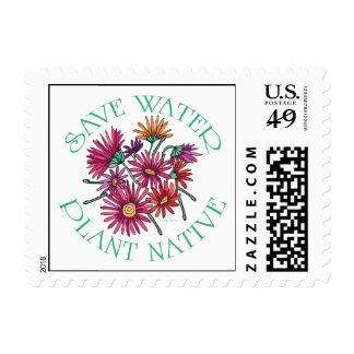 Save Water - Plant Native Postage Stamp