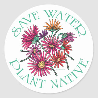 Save Water - Plant Native Classic Round Sticker
