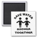 Save water shower together fridge magnets