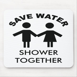 save water shower together mousepad