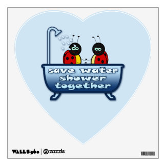 save water, shower together wall graphic