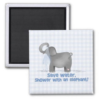 Save Water Shower with An Elephant Refrigerator Magnets