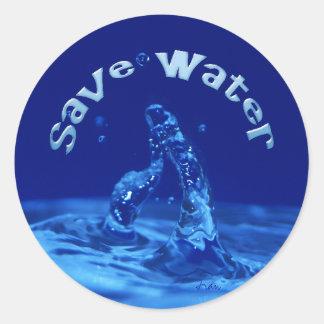 save water classic round sticker