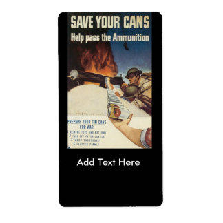 Save Your Cans World War 2 Label