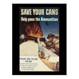 Save Your Cans World War 2 Postcard