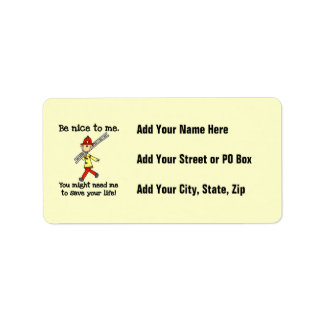 Save Your Life Firefighter Tshirts and Gifts Address Label