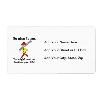 Save Your Life Firefighter Tshirts and Gifts Shipping Label
