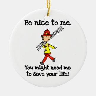 Save Your Life Firefighter Tshirts and Gifts Double-Sided Ceramic Round Christmas Ornament